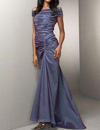フォーマルドレスレンタル E-58 Ruched Taffeta Gown /Purple