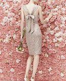 フォーマルドレスレンタル E-106 Sequined Cocktail Dress Back