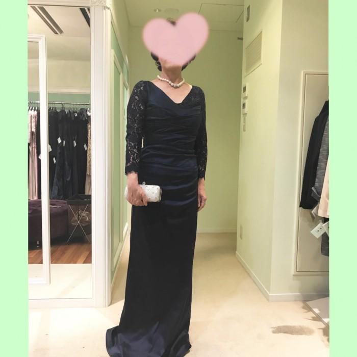 秋の結婚式に着たいNYの新作ドレス〜お母様にふさわしい「袖あり」のフォーマルドレス L-91ネイビー