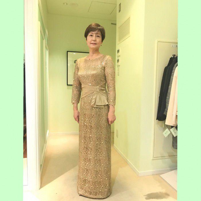 結婚式にふさわしいお母様のドレス/ゴールドのドレスもこんなに品良く素敵に‼~フォーマルドレスL-21~