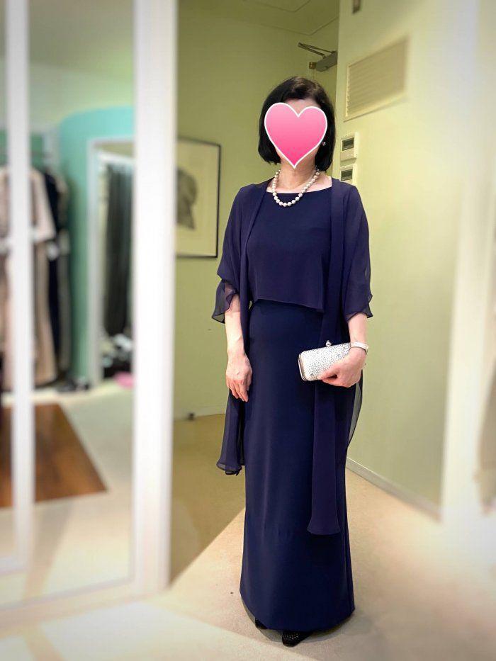 【結婚式母親の高級ドレス】軽井沢の家族ウェディングに!シンプルで洗練されたブライダルマザードレス