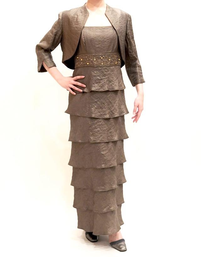 フォーマルドレスレンタル L-09 Tiered Jacket Dress Mocha  ロング