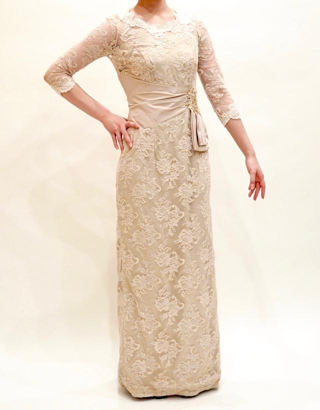 結婚式の新婦の母の衣装|リビエラ東京|フォーマルドレスL-54| 結婚式の母親ドレス M&V for mother